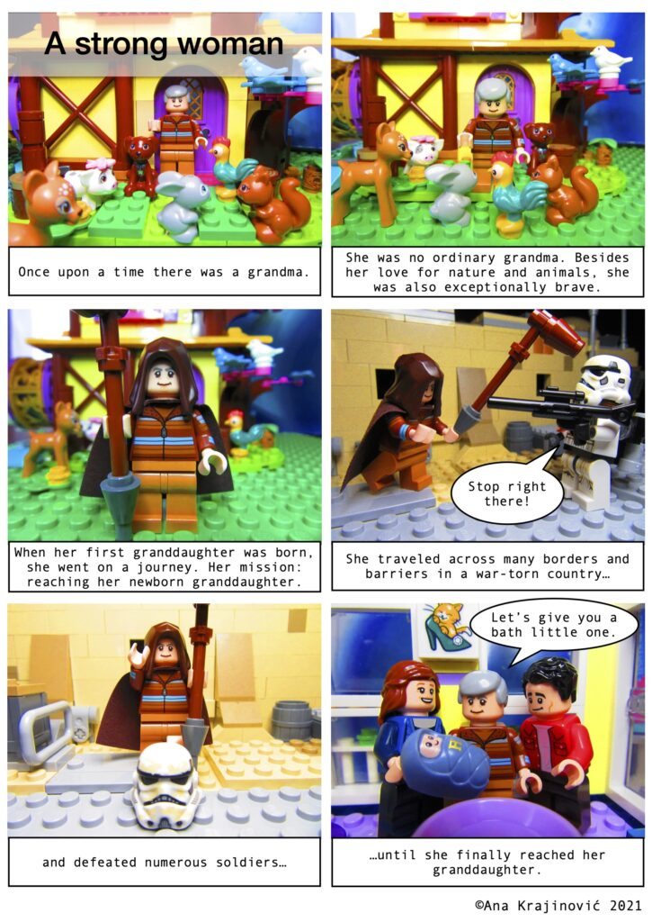 A Lego comic in 6 panels telling the story of a grandma who traveled across a war zone to come to her newborn granddaughter.